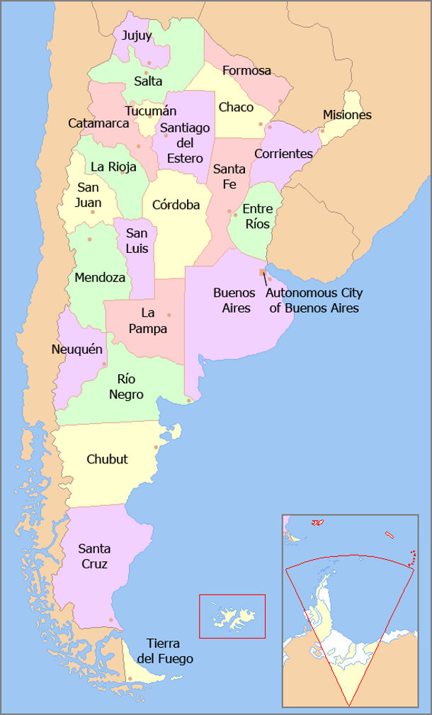 Map of Argentina with provinces names en