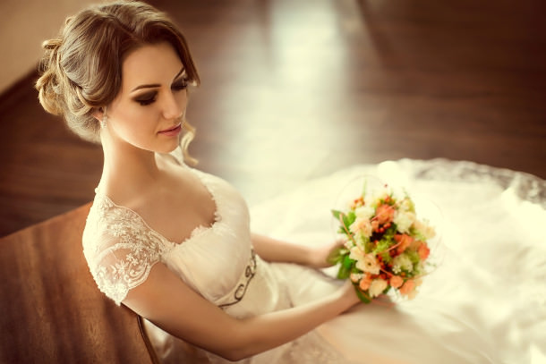 high neckline wedding hair