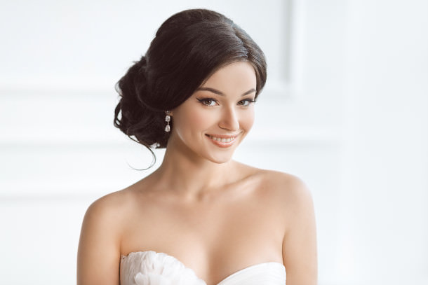wedding hair strapless dress