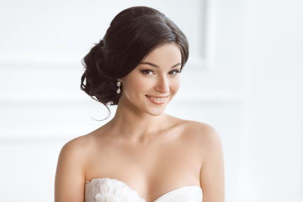 wedding hair strapless dress