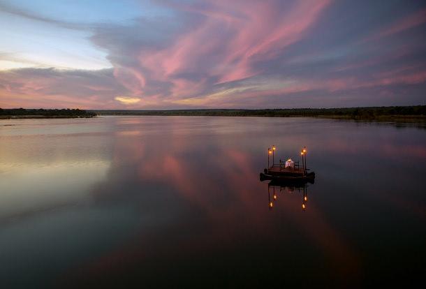 zambia honeymoon river dining